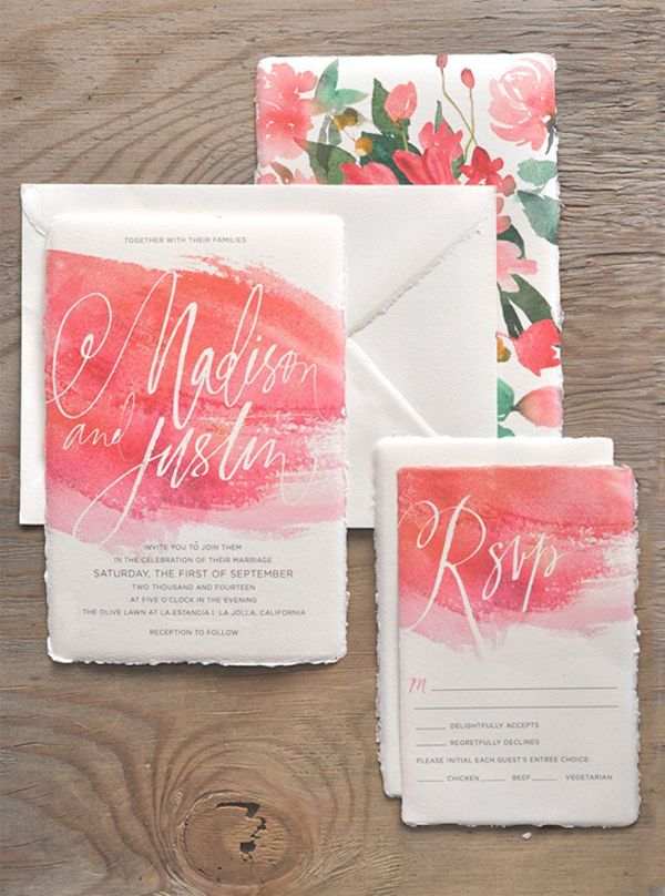 Beautiful use of the watercolor trend in invitations