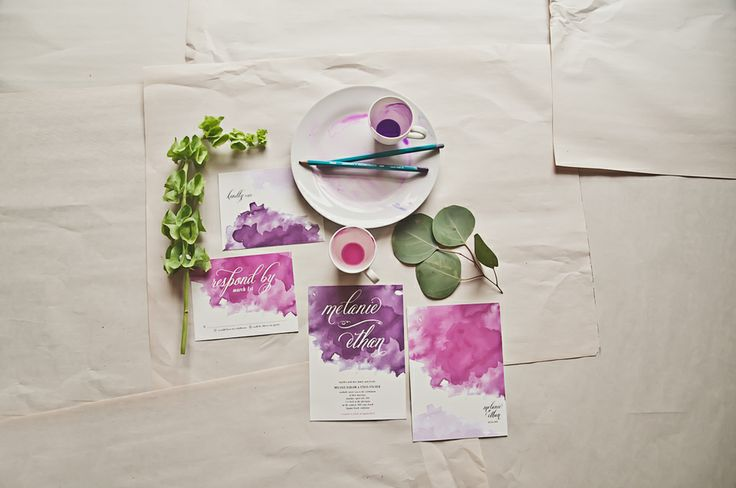 Do it yourself purple watercolor invitations