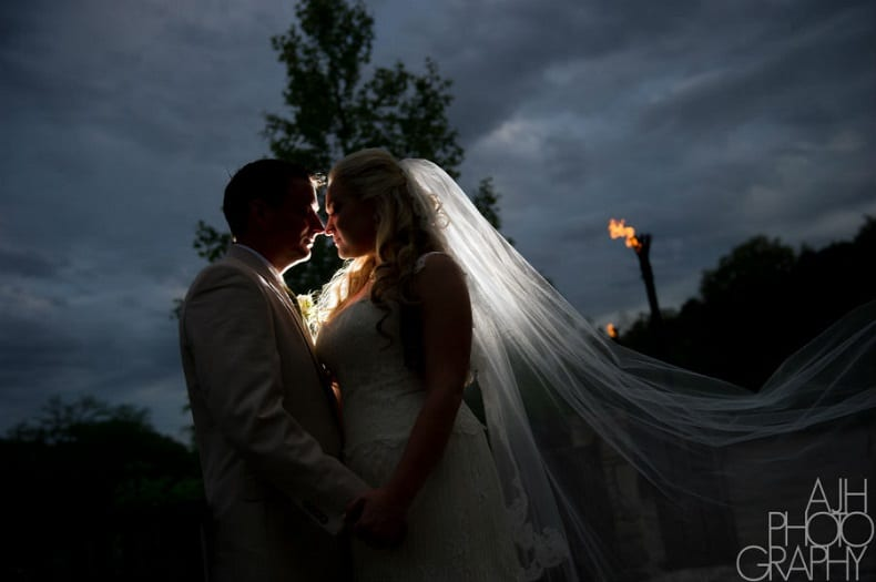 Bride and groom at sunset at Hideout on the Horseshoe