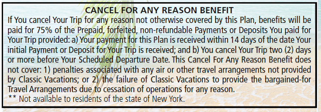 Cancel for any Reason Benefits Explainer