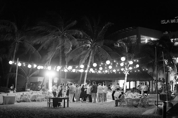 Isla Mujeres Beach Reception at Night